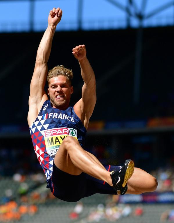 Kevin Mayer lors du saut en longueur aux Championnats d'athlétisme, à Berlin, le 7 août 2018 [Andrej ISAKOVIC / AFP/Archives]