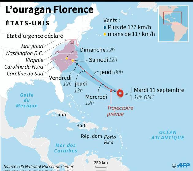 Trajectoire prévue de l'ouragan Florence [AFP / AFP]
