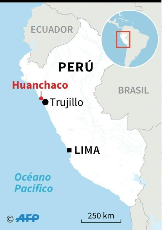 Carte du Pérou montrant le site de Huanchaco, à 700 kilomètres au nord de Lima [Nicolas RAMALLO / AFP]