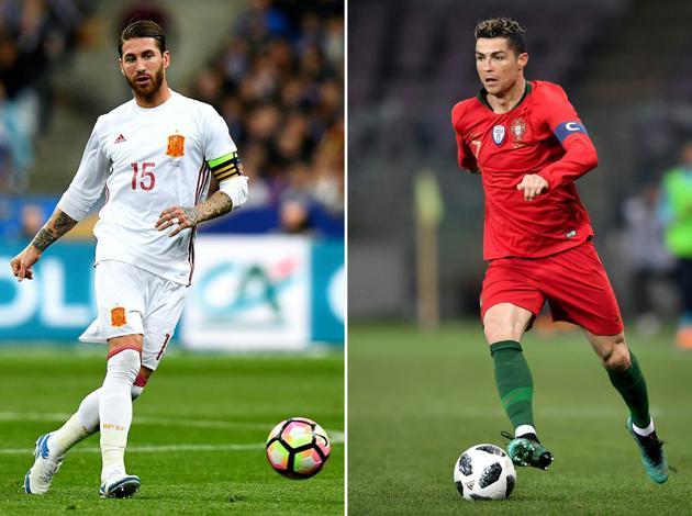Photomontage du 13 juin 2018 montrant deux coéquipiers du Real Madrid, l'Espagnol Sergio Ramos (g) et le Portugais Cristiano Ronaldo, opposés lors de leur entrée en lice dans le Mondial-2018 [Franck FIFE, Fabrice COFFRINI / AFP]
