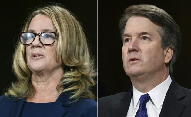 Christine Blasey Ford, lors de son témoignage devant le Sénat américain à Washington le 27 septembre 2018, accuse le magistrat Brett Kavanaugh, candidat à la Cour suprême, d'une agression sexuelle remontant à 1982    [SAUL LOEB / POOL/AFP]