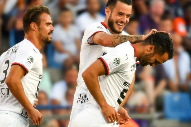Le joueur de Rennes Jérémy Morel (d) buteur lors de la victoire 1-0 à Montpellier le 10 août 2019 [PASCAL GUYOT / AFP]