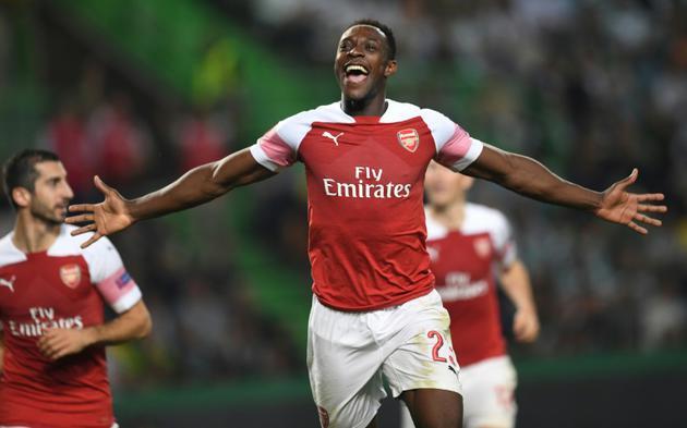 L'attaquant d'Arsenal Danny Welbeck vient de marquer contre le Sporting Portugal en Ligue Europa, le 25 octobre 2018 à Lisbonne    [Francisco LEONG / AFP]
