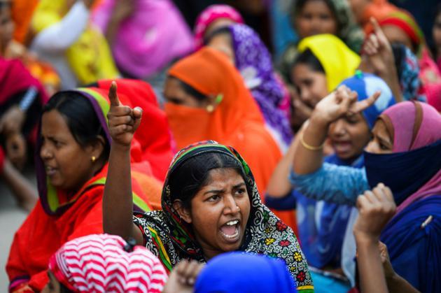 Des ouvriers du textile du Bangladesh manifestent pour réclamer des hausses de salaire, le 9 janvier 2019 à Dacca<br />  [MUNIR UZ ZAMAN / AFP/Archives]