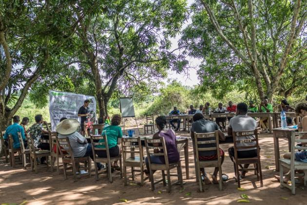 """Des participants à un """"agro-bootcamp"""" suivent une formation à l'entrepreneuriat à Tori-Bossito, le 16 avril 2019 au Bénin [Yanick Folly / AFP]"""