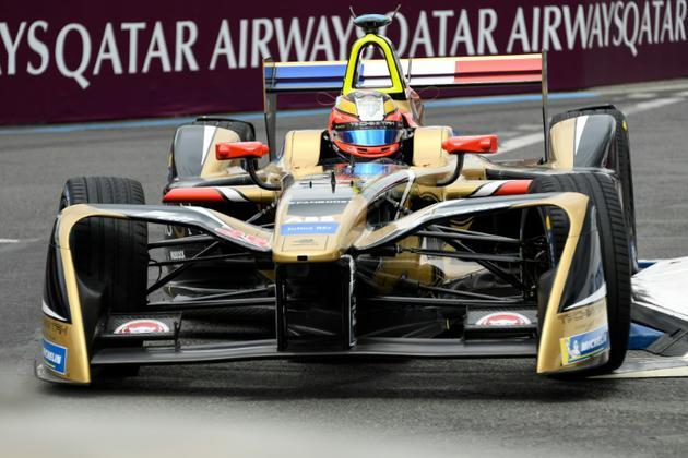 Jean-Eric Vergne lancé vers sa victoire dans le ePrix de Paris, le 28 avril 2018  [BERTRAND GUAY / AFP]