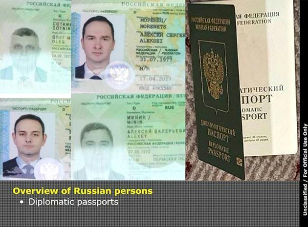 Document diffusé par le ministère néerlandais d ela Défense le 4 octobre 2018 montrant les passeports diplomatiques des quatre espions russes présumés [HO / DUTCH DEFENSE MINISTRY/AFP]