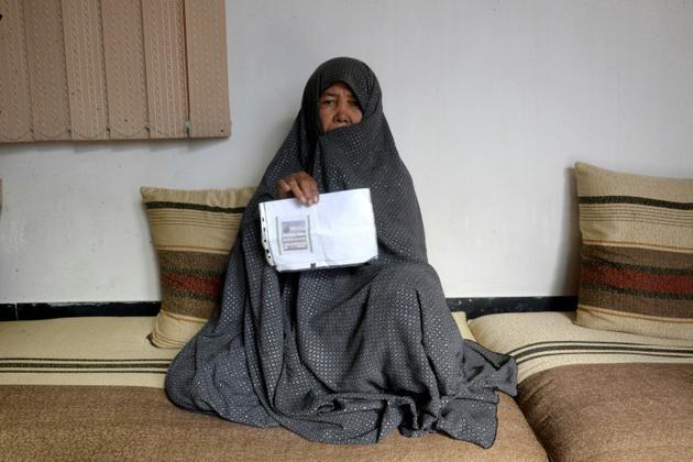 Fatima Sadeqi, femme au foyer, le 11 octobre 2018 à Mazar-i-Sharif, en Afghanistan [FARSHAD USYAN / AFP]