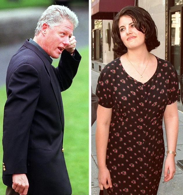 Montage photos réalisé le 28 novembre 2001 du président Bill Clinton, et de la stagiaire de la Maison Blanche Monica Lewinsky [STAFF / AFP/Archives]