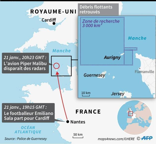L'avion de E. Sala disparaît au-dessus de la Manche [ / AFP]