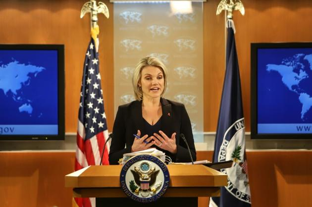 La porte-parole du département d'Etat Heather Nauert lors d'une conférence de presse le 30 novembre 2017 à Washington DC [Alex Wroblewski / GETTY IMAGES NORTH AMERICA/AFP/Archives]