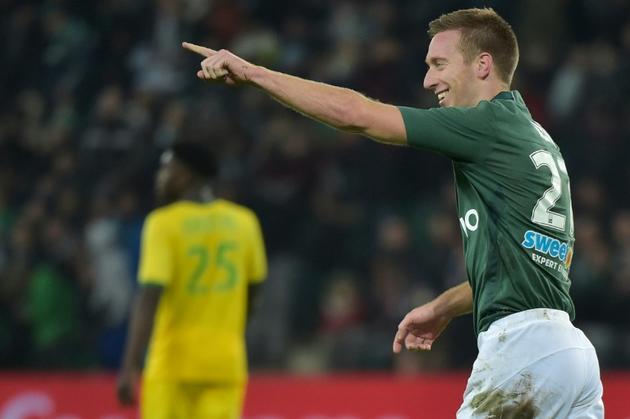 L'attaquant de Saint-Etienne Robert Beric buteur lors de la victoire à domicile 3-0 face à Nantes en 15e journée de L1 le 20 novembre 2018 [ROMAIN LAFABREGUE / AFP]