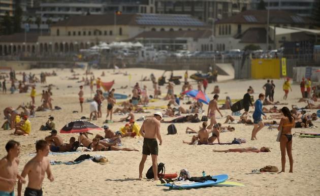 La plage de Bondi Beach à Sydney avant sa fermeture le 21 mars 2020 [PETER PARKS / AFP]
