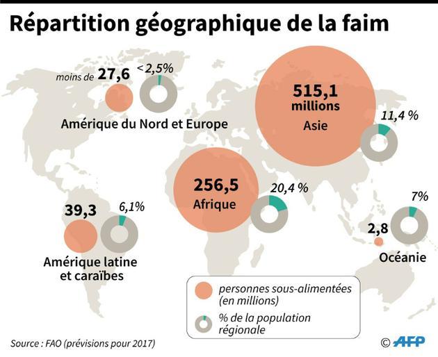 Répartition géographique de la faim [Thierry TRANCHANT / AFP]