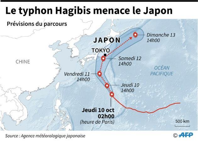 Le typhon Hagibis menace sur le Japon [Laurence CHU / AFP]