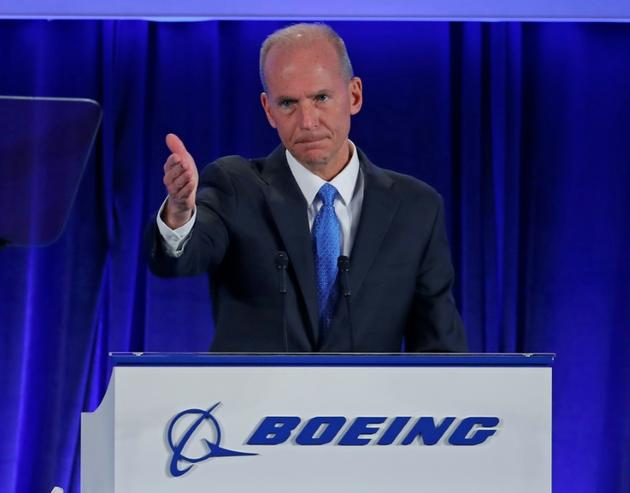 Le PDG de Boeing Dennis Muilenburg lors de l'assemblée des actionnaires du groupe, le 29 avril 2019 à Chicago [Jim YOUNG / POOL/AFP/Archives]