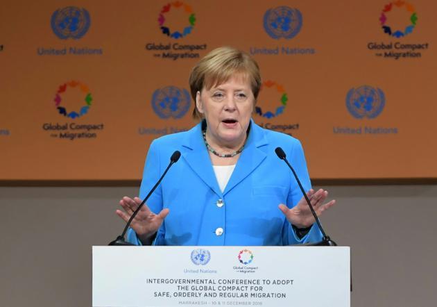 La chancelière allemande Angela Merkel s'exprime pendant la conférence de l'ONU sur les migrations à Marrakech, au Maroc, le 10 décembre 2018 [FETHI BELAID / AFP/Archives]