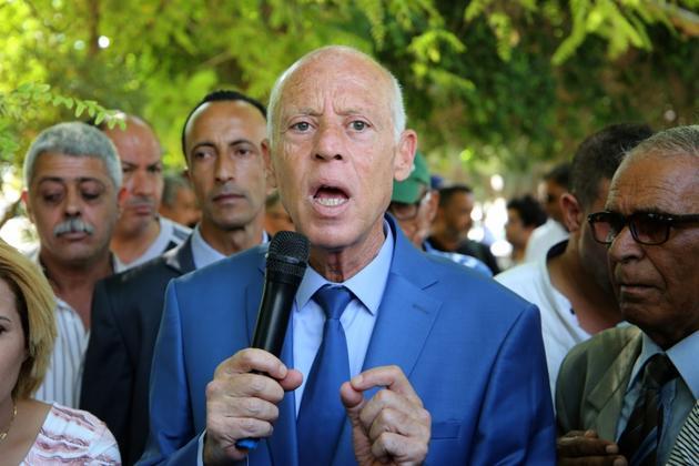 Kais Saied s'adresse à des électeurs le 7 septembre 2019 dans la ville de Gafsa. [Moneem Sakhri / AFP/Archives]