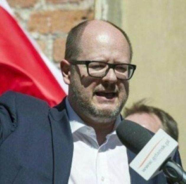 Le maire de Gdansk, Pawel Adamowicz, lors d'une manifestation antifasciste, le 21 avril 2018 à Gdansk [Simon Krawczyk / AFP/Archives]