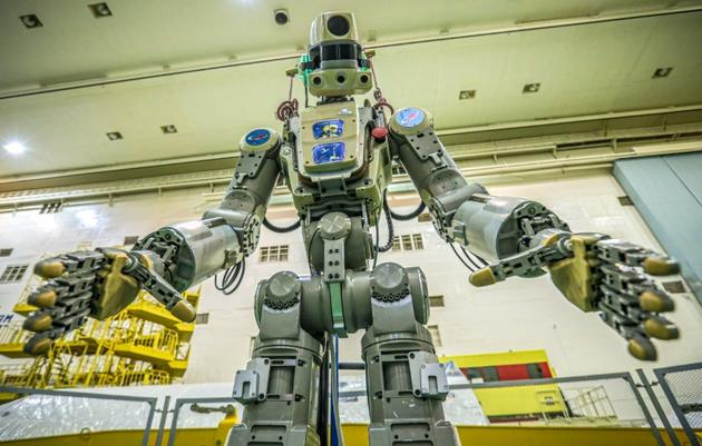 Le robot cosmonaute russe Skybot F-850, alias Fedor, le 26 juillet 2019 [- / Roscosmos space agency/AFP/Archives]