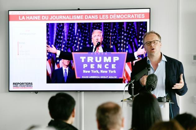 Le secrétaire général de Reporters sans frontières, Christophe Deloire, lors d'une conférence de presse, le 25 avril 2018 à Paris [BERTRAND GUAY / AFP]