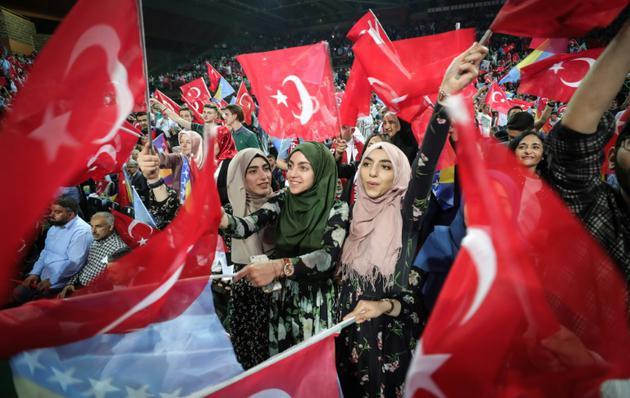 Meeting électoral tenu par le président turc Recep Tayyip Erdogan à Sarajevo le 20 mai 2018 [OLIVER BUNIC / AFP]
