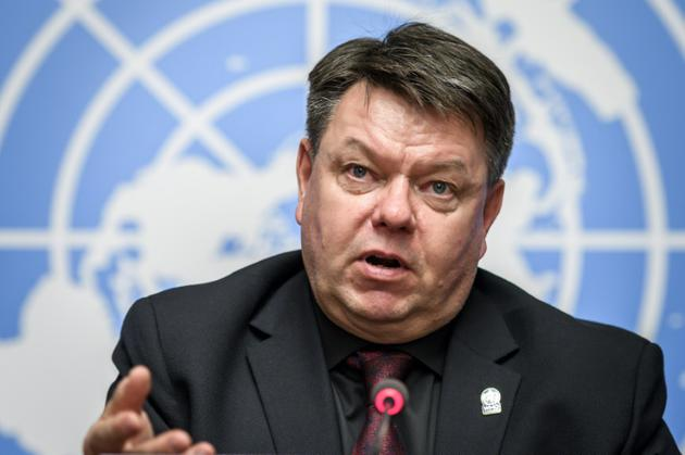 Le secrétaire général de l'Organisation mondiale de la météo (OMM), Petteri Taalas, le 8 octobre 2018 à Genève [Fabrice COFFRINI / AFP]