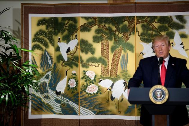 Le président américain Donald Trump s'adresse à des responsables d'entreprise à Séoul le 30 juin 2019 [Brendan Smialowski / AFP]