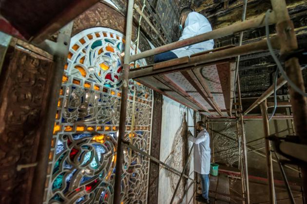 Travaux de restauration à la mosquée al-Maridani au Caire, le 28 octobre 2018 [Khaled DESOUKI / AFP]