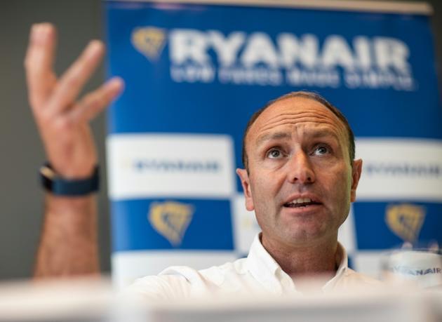 Le directeur du marketing de Ryanair, Kenny Jacobs, lors d'une conférence de presse à Francfort le 8 août 2018 (photo DPA) [Frank Rumpenhorst / dpa/AFP]