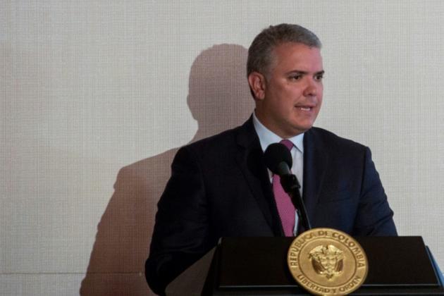 Le président colombien Ivan Duque à la réunion du groupe de Lima sur le Venezuela le 25 février 2019 à Bogota [Diana Sanchez / AFP]
