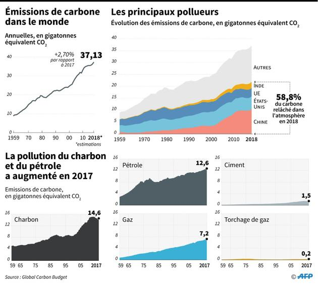 Emissions de carbone dans le monde [Sophie RAMIS / AFP]