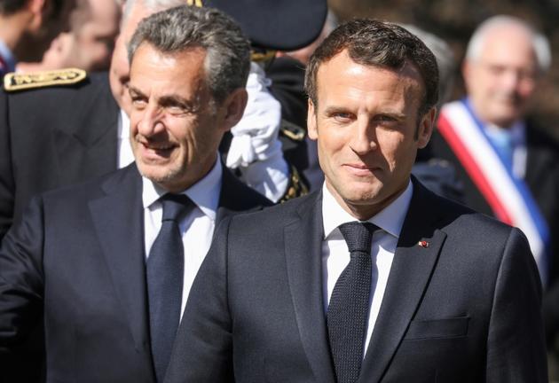 Nicolas Sarkozy et Emmanuel Macron aux Glières le 31 mars 2019 [ludovic MARIN / POOL/AFP]