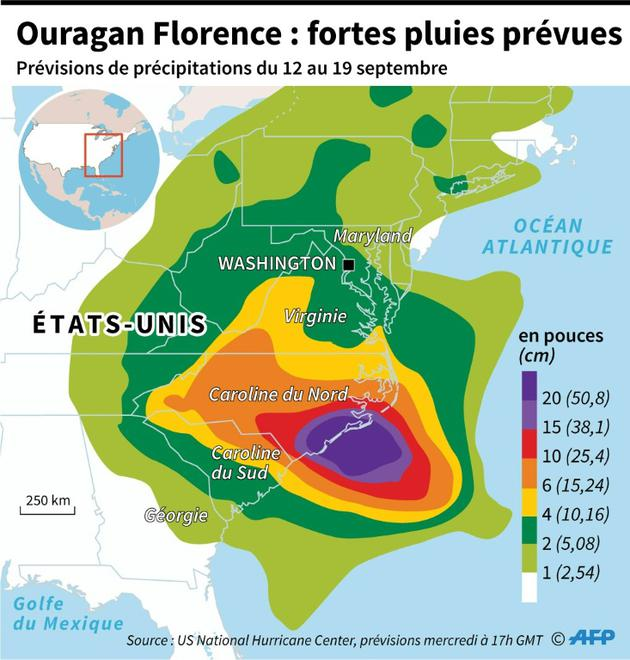 Ouragan Florence : fortes pluies prévues [Simon MALFATTO / AFP]