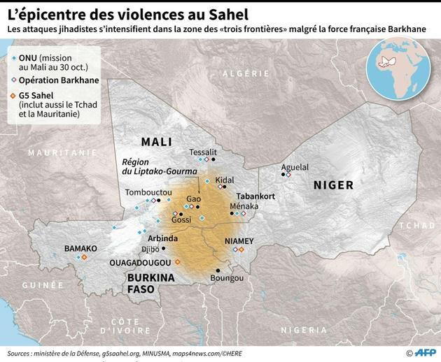 L'épicentre des violences au Sahel [Laurence SAUBADU / AFP]