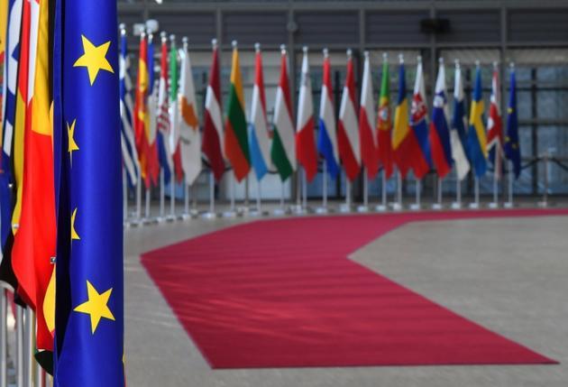 Les drapeaux de l'Union européenne et d'Etats membres à Bruxelles le 13 mai 2019 [EMMANUEL DUNAND / AFP/Archives]