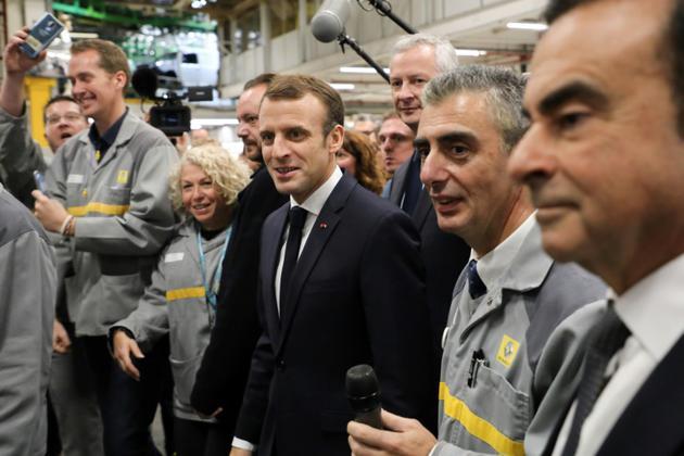 Emmanuel Macron visite l'usine Renault de Maubeuge, le 8 novembre 2018 [ludovic MARIN / AFP]