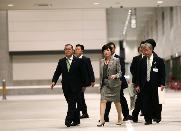 La gouverneure de Tokyo, Yuriko Koike, en visite sur le site du nouveau marché au poisson de Toyosu à Tokyo, le 13 septembre 2018  [Behrouz MEHRI / AFP/Archives]
