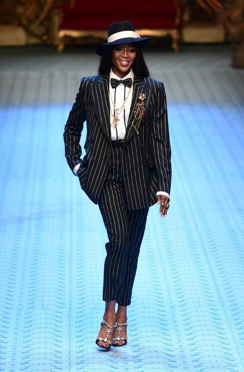 Naomi Campbell défile pour Dolce & Gabbana  à Milan, le 16 juin 2018 [MIGUEL MEDINA / AFP]