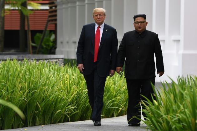 Kim Jong Un et Donald Trump le 11 juin 2018 [SAUL LOEB / AFP/Archives]