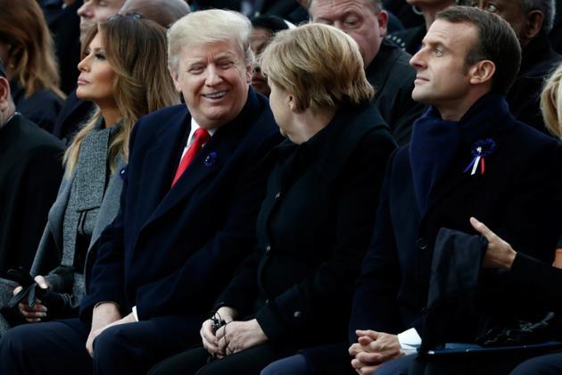 Le président américdain Donald Trump et la chancelière allemande Angela Merkel parmi les chefs d'Etat réunis à Paris pour le Centenaire de l'Armistice, le 11 novembre 2018 [BENOIT TESSIER / POOL/AFP]