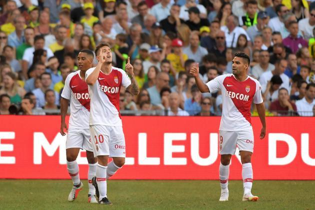 L'attaquant de Monaco Stevan Jovetic (c) buteur lors de la victoire 3-1 à Nantes le 11 août 2018 [LOIC VENANCE / AFP]
