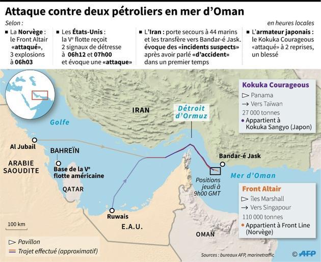 Attaque contre deux pétroliers dans le Golfe. Le point à 15h00 GMT le 13 juin 2019 [Thomas SAINT-CRICQ / AFP]
