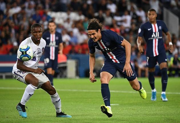 L'attaquant du PSG Edinson Cavani lors de la réception de Toulouse le 25 août 2019 [FRANCK FIFE / AFP]