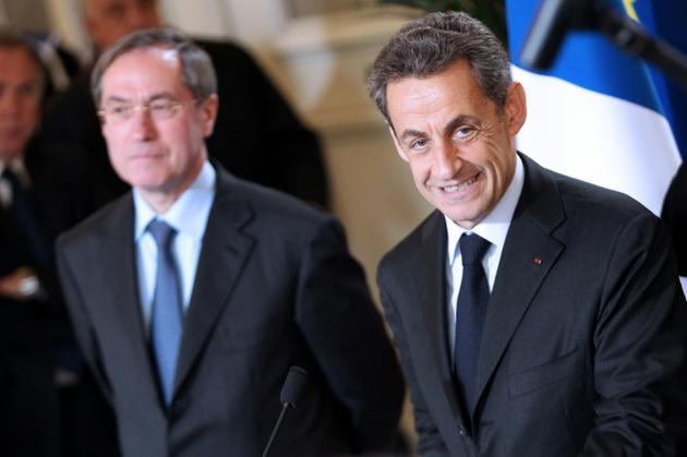 Claude Guéant et Nicolas Sarkozy, le 13 avril 2012 à Ajaccio [PASCAL POCHARD CASABIANCA / AFP/Archives]