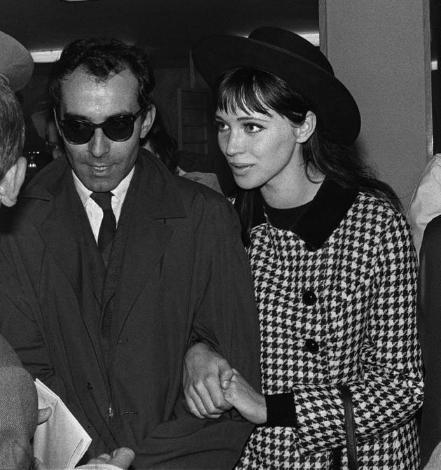Anna Karina avec son mari, le réalisateur Jean-Luc Godard, le 1er janvier 1963 [STR / UPI/AFP/Archives]