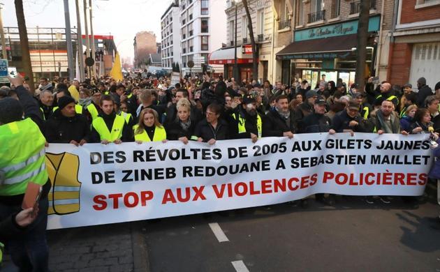 """Manifestation contre les """"violences policières"""", à Argenteuil, le 13 février 2019 [JACQUES DEMARTHON / AFP/Archives]"""