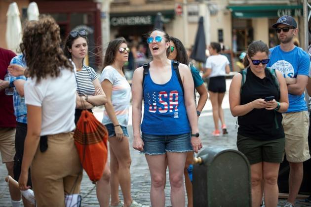 Les supporters américains dans les rues de Lyon, le 2 juillet 2019 la demi-finale contre l'Angleterre [ROMAIN LAFABREGUE / AFP/Archives]