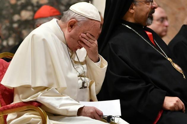Le pape François prend part à une prière au troisième jour du sommet sur les abus sexuels commis par le clergé, le 23 février 2019 au Vatican [Vincenzo PINTO                       / POOL/AFP]