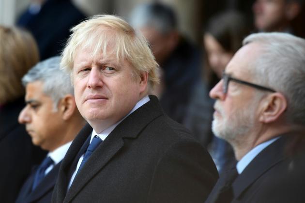 Le Premier ministre britannique Boris Johnson lors d'un hommage, le 2 décembre 2019 à Londres, aux victimes de l'attaque jihadiste au couteau sur le London Bridge [DANIEL LEAL-OLIVAS / AFP]